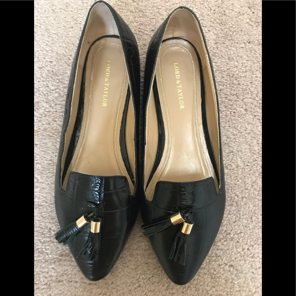 Lord Taylor Shoes Lord Taylor Women Black Leather Flats Poshmark